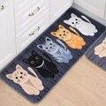 1 UNIDS Pasillo Bienvenido Tapetes Animal Cute Cat Imprimir Baño Cocina Felpudos De Alfombra Casa Salón Antideslizante Tapete Alfombra