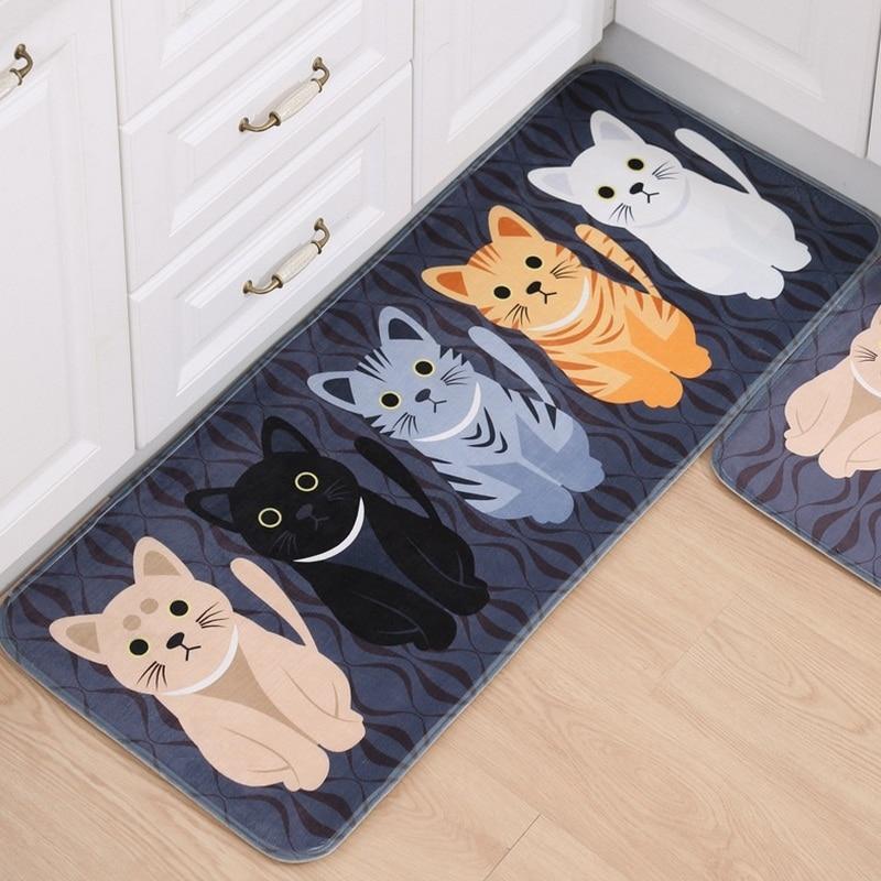 1 ชิ้นห้องโถงยินดีต้อนรับพรมปูพื้นสัตว์แมวน่ารักพิมพ์ห้องน้ำห้องครัวพรมบ้าน Doormats ห้องนั่งเล่นลื่น Tapete พรมปูพื้น