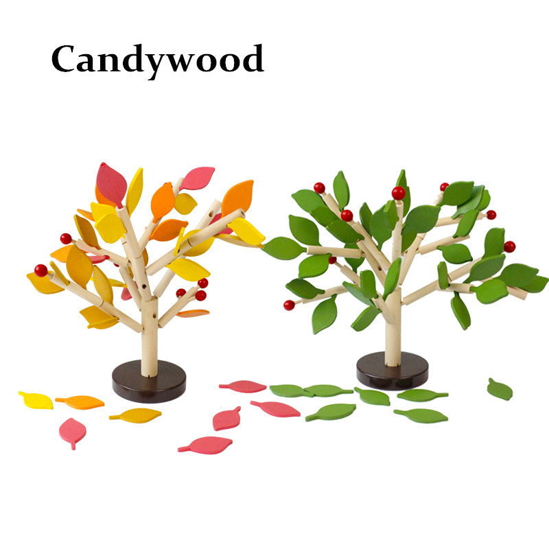 Candywood Baby Wooden building block table game model tree education assembling garden play games toys for children boy girl wooden toys for children cactus building blocks assembling demolition wood baby toy education game new year s gift