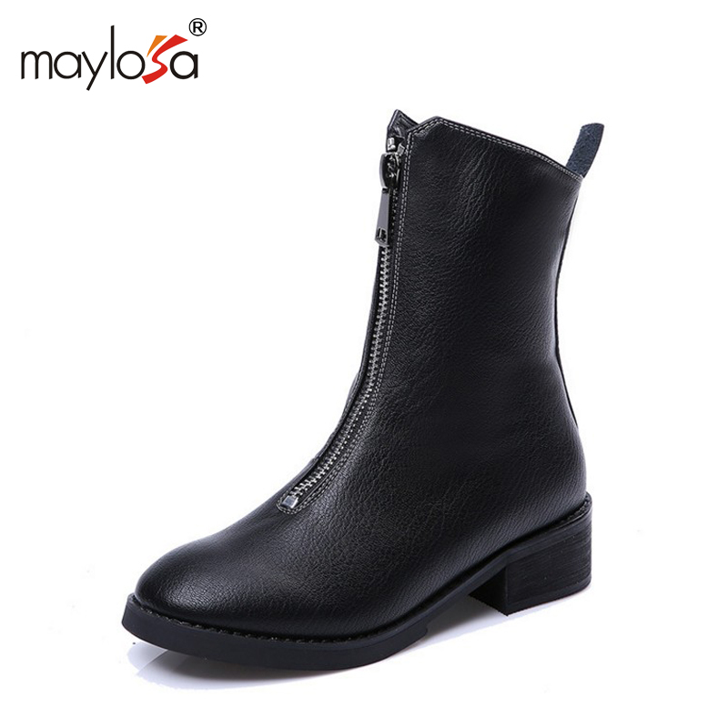 MAYLOSA Genuine Leather Women Boots 2017 Round Toe Autumn Winter Boots Flat Heel Zipper Pleated Shoes Woman Ankle  Boots front lace up casual ankle boots autumn vintage brown new booties flat genuine leather suede shoes round toe fall female fashion