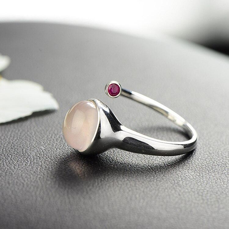Гарантированное серебряное кольцо для женщин 925 Простые Кольца женские ювелирные изделия розовый КВАРЦЕВЫЙ и из натурального камня красивые ювелирные изделия Bague Argent