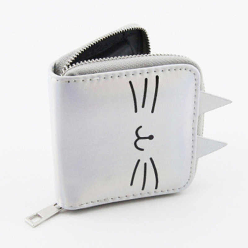 2019 Cartoon Cat Coin Purse Women Leather Wallets Kawaii Short Purse PU leather Zipper Clutch Bag Female Bank Card Holder Wallet