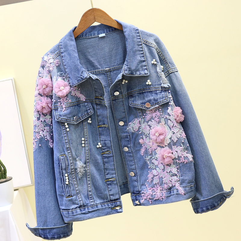 Coréen broderie Jeans veste femmes printemps automne 3D fleur courte Denim veste grande taille lâche basique manteau Casacas Para Mujer