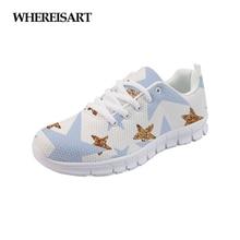 WHEREISART Women Shoes Star Prints 2019 Summer Breathable Walking Sneakers Girls Running Flats Zapatos de Mujer Sapato Feminino