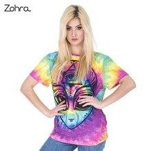 Zohra New Arrival Women Short Sleeve t shirt Colored Alien Printing Tee Shirt Fashion Casual Long T-Shirt