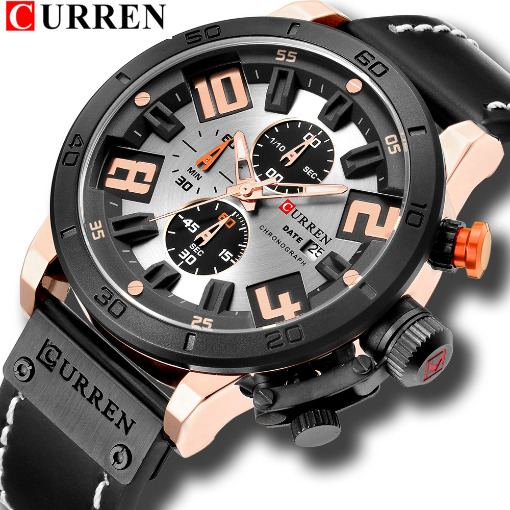 Relogio Big Dial Quartz Business Watches For Man 2018 CURREN Fashion Chronograph Mens Wrist Watch With High Quality LeatherRelogio Big Dial Quartz Business Watches For Man 2018 CURREN Fashion Chronograph Mens Wrist Watch With High Quality Leather