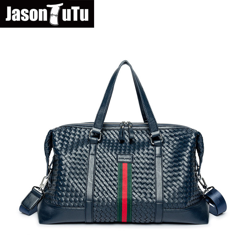 JASON TUTU Crossbody bags for men Brand Design Knitting Handbags Leather Bag Men Shoulder Messenger Bags Large capacity Tote bag цена