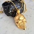 Esqueleto crânio colares & pingentes banhado a ouro de aço titanium dos homens de aço inoxidável colar personalidade do punk hip hop jóias