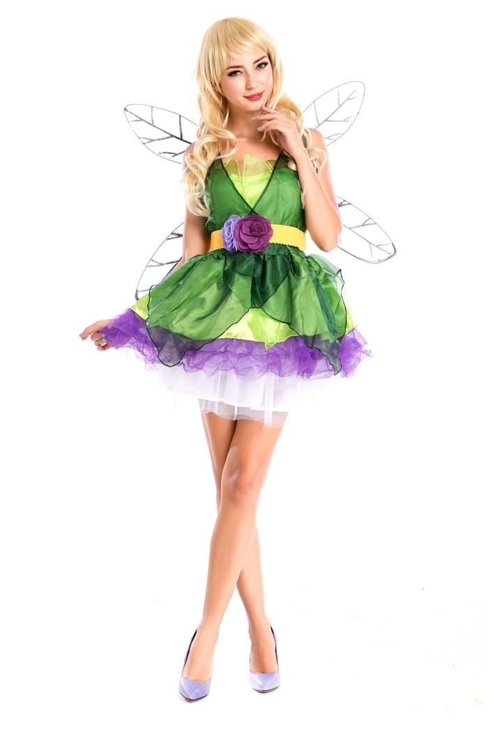 Бесплатная доставка, сексуальный костюм феи для взрослых, зеленый костюм с крыльями жука, Женский костюм животного для Хэллоуина, карнаваль...