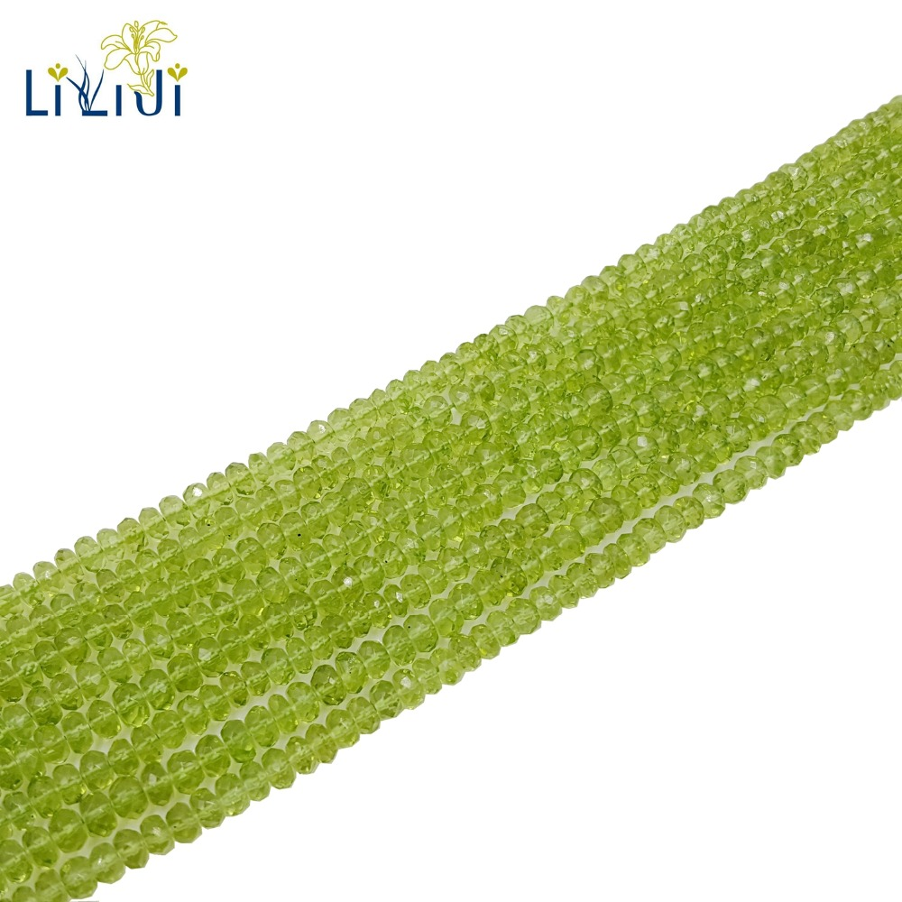 Lii Ji Natural Real Peridot Less Flaw Flat Round Shape Faceted beads 2-3mmx4-5mm DIY Jewelry Making Approx 35cmLii Ji Natural Real Peridot Less Flaw Flat Round Shape Faceted beads 2-3mmx4-5mm DIY Jewelry Making Approx 35cm