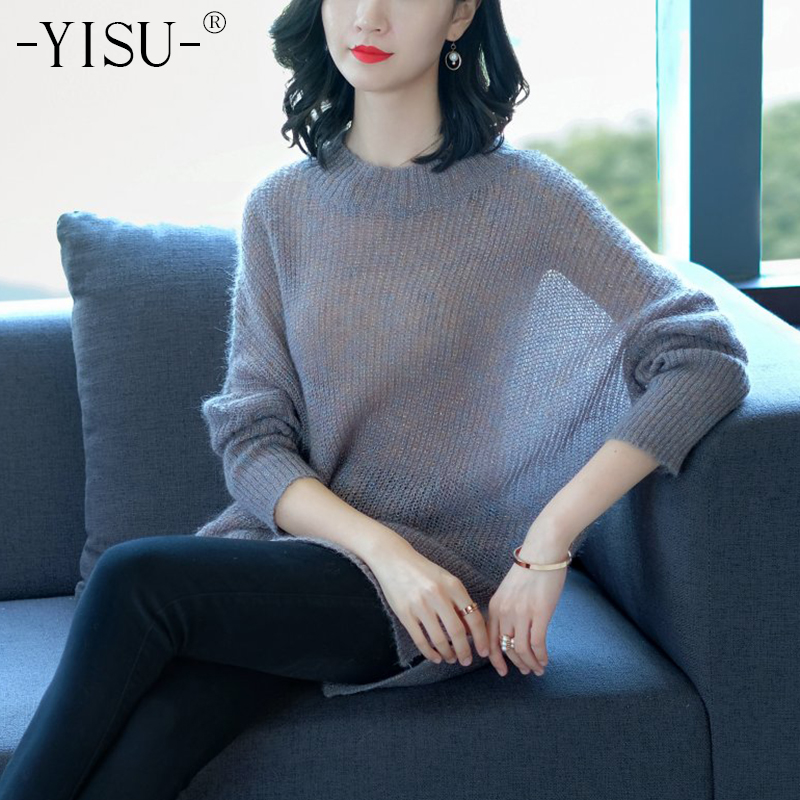 YISU Winter Mohair long Sweaters Women 2018 Fashion Jumpers Pullovers Knitting wool Pullovers Cashmere Sweater pull femme-in Pullovers from Women's Clothing on AliExpress - 11.11_Double 11_Singles' Day 1