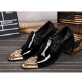 British Style Steel Iron Metal Pointed Toe Men's Genuine Leather Wedding Business Dress Flats Stage Fashion Shoes 016 GZSL
