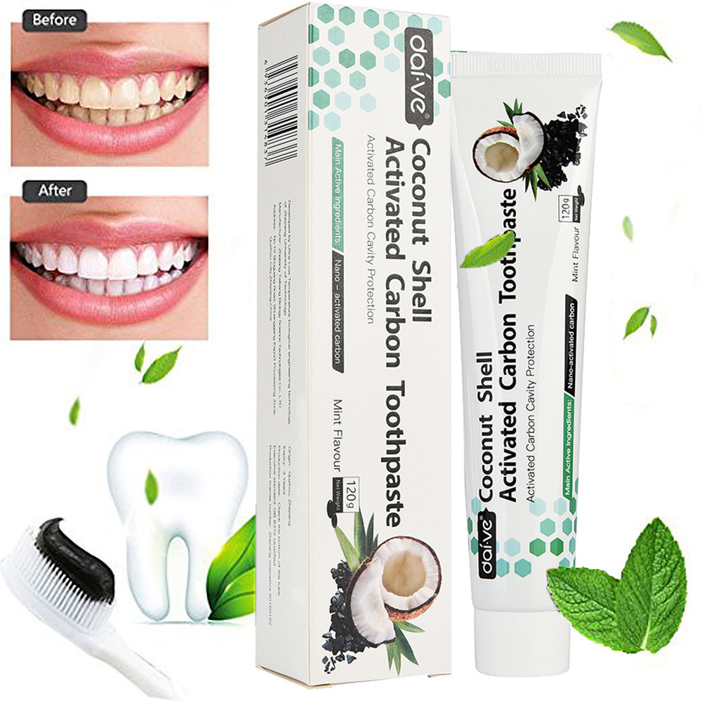 100% Natural Toothpaste Coconut Shell Activated Carbon Toothpaste Charcoal Whitening Teeth Tooth Paste Black Mint Flavor