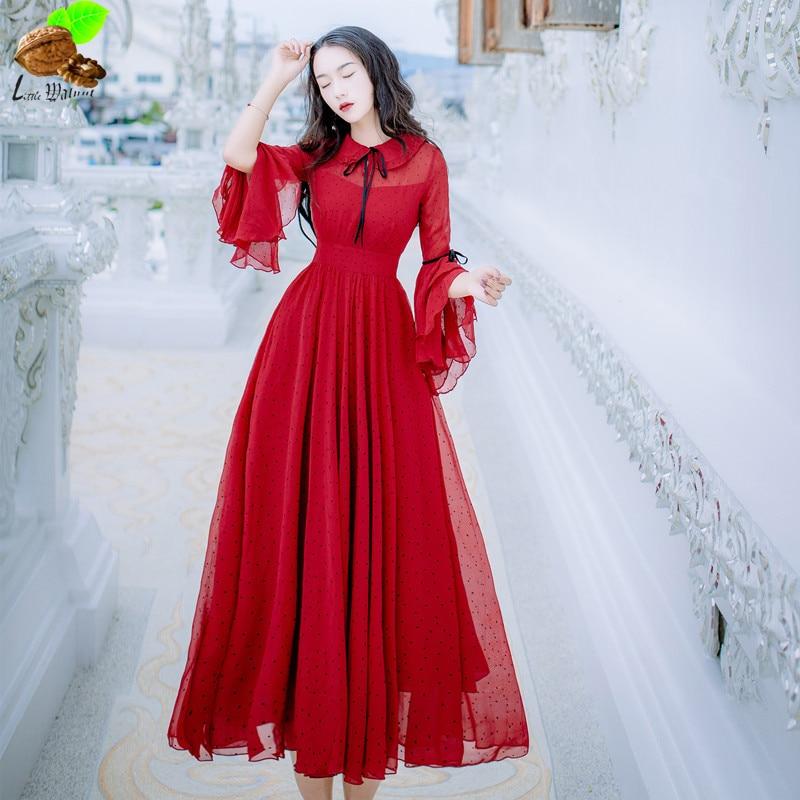 Women Slim Red Polka Dot Chiffon Long Dress Flare Sleeve Fairy Expansion  Bottom Vintage Dress Mori Beach Red Dress-in Dresses from Women s Clothing  on ... 7c16efadbf28