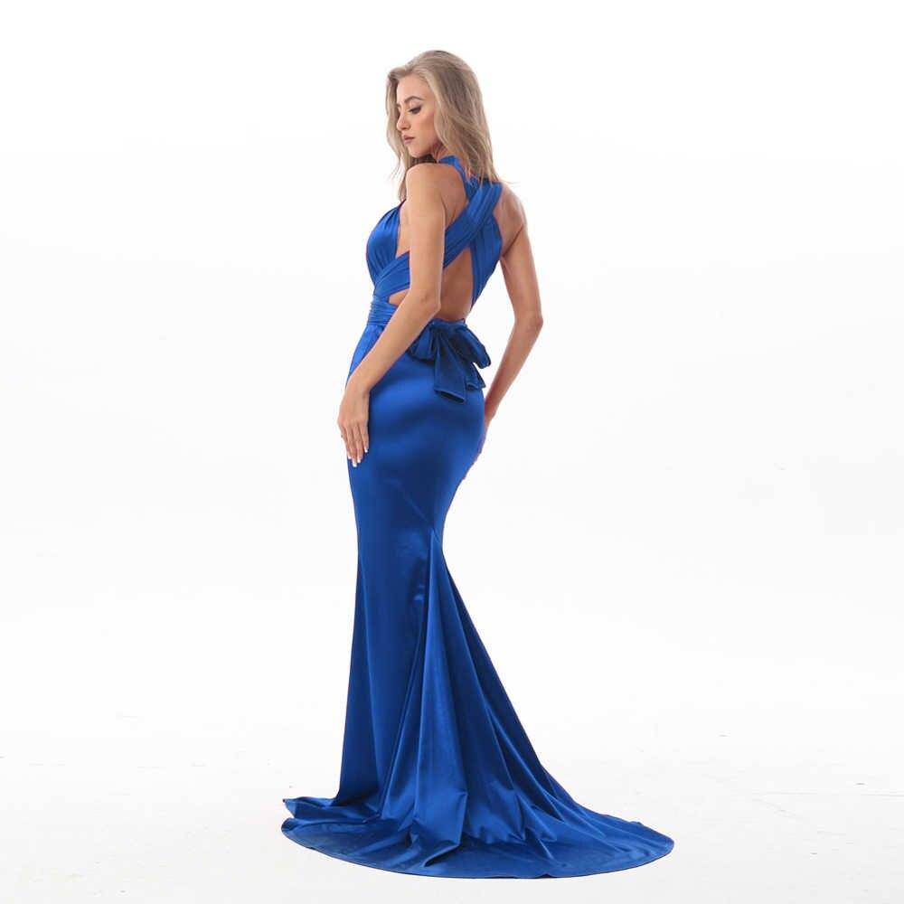 f6a7a1348a555 V Neck Shiny Blue Satin Long Dress DIY Straps Bodycon Open Back Elegant  Mermaid Dress Floor Length Stretchy Party Dress