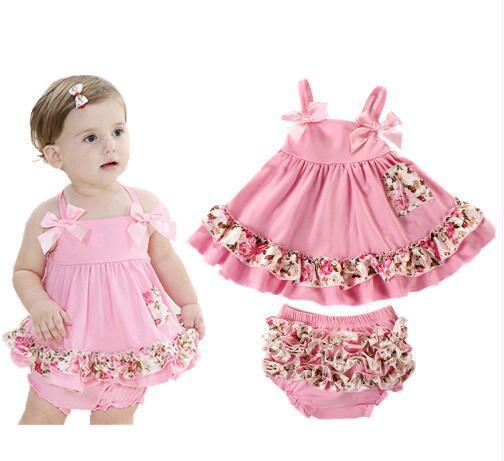 Alta qualidade o Vestido Da Menina Do Bebê Recém-nascido infantil da Menina da criança roupas Bodysuits Corpo Sling Roupas Bat Corpo Bebes Conjunto de Roupas de Bebê