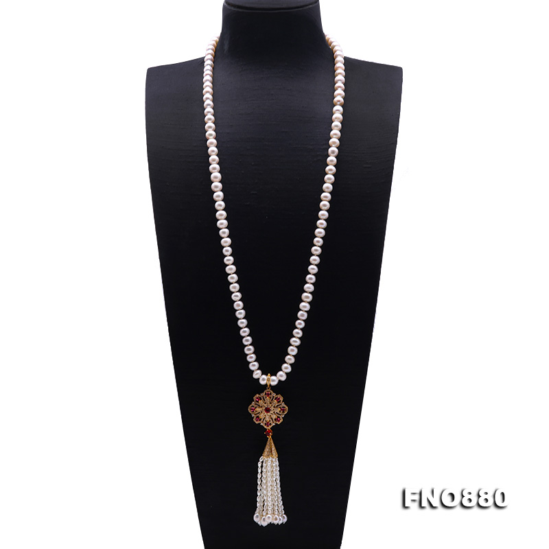 JYX Long Tassel Pearl Necklace for women 9-10mm White Near Round natural freshwater pearl chains цена