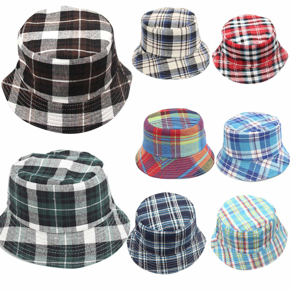 3588f8e1813 Detail Feedback Questions about New Fashion Cute Toddler Baby Kids Boys  Girls Plaid Pattern Bucket Hats Sun Helmet Cap High Quality Drop Shipping  on ...