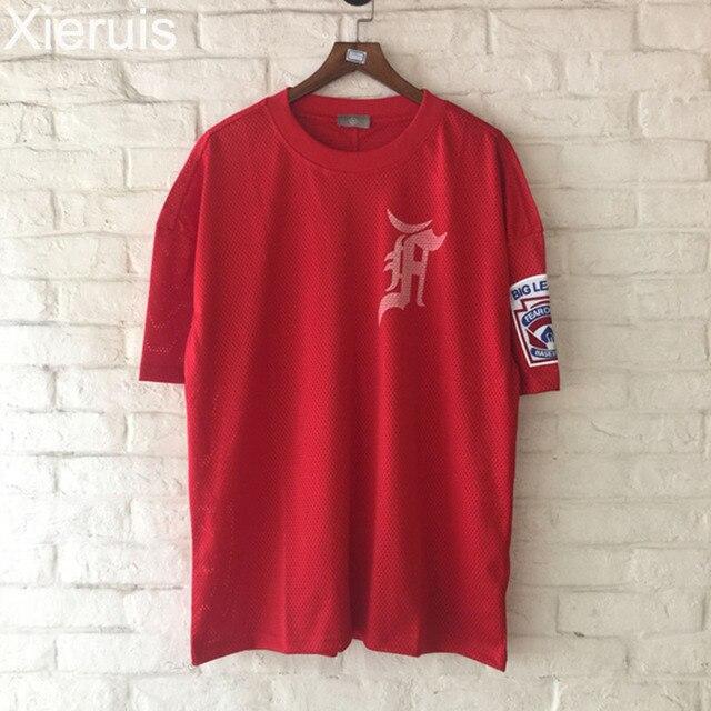 43eee0d3 XIERUIS 2017 New Oversized T Shirt Men Hip-Hop Big League Armlet Men T-Shirt  Mesh Justin Bieber Fear Of God Baseball Tee Shirts