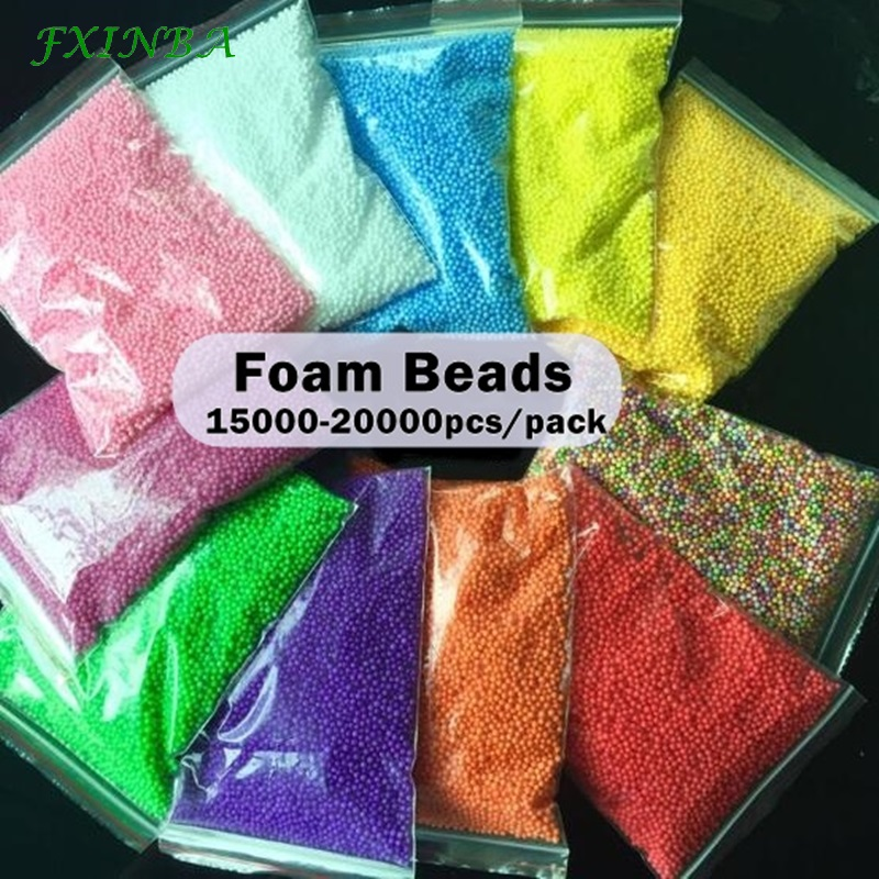 FXINBA Sprinkles Foam Beads For Slime Supplies Snow Mud Particles Accessories DIY Foam Slime Balls Small Tiny 2-4mm 15000 Beads