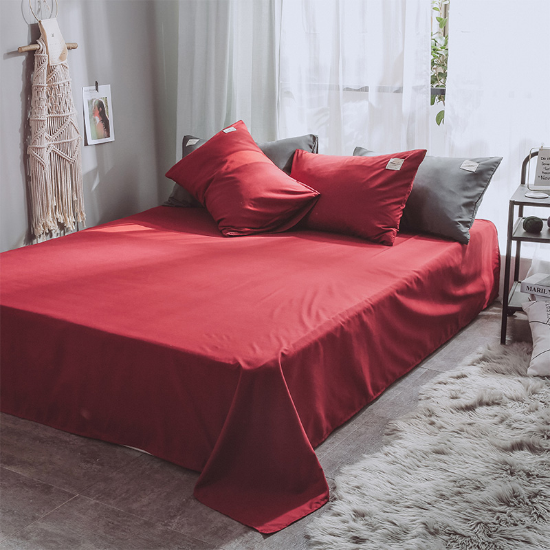 SlowDream Wine Red Bedding Set Bedspread Double Queen Bed Flat Sheet Linens Decor Home Duvet Cover Set Japan Style Luxury Bed in Bedding Sets from Home Garden