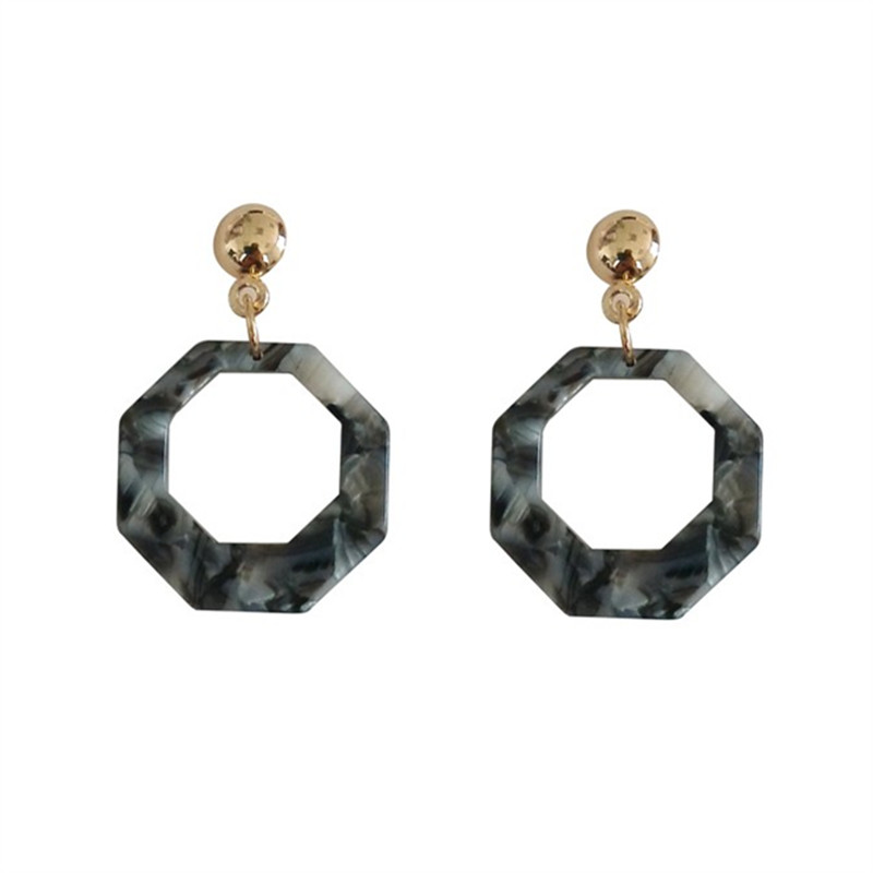 Geometric personality fashion earrings Acetic acid board contracted tide female stud