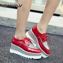 SWYIVY Women s Pumps Spring Platform Sequins Square Toe Female Sneakers  Casual Shoes 7cm Wedge Lady Red Shoes 2018 Thick Bottom 3b6d7aefb866
