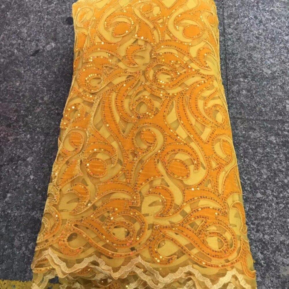 Amarillo 2019 de alta calidad de tela de encaje de la boda última Africana cordones de terciopelo francés Net tela de encaje con lentejuelas de encaje-in encaje from Hogar y Mascotas    1