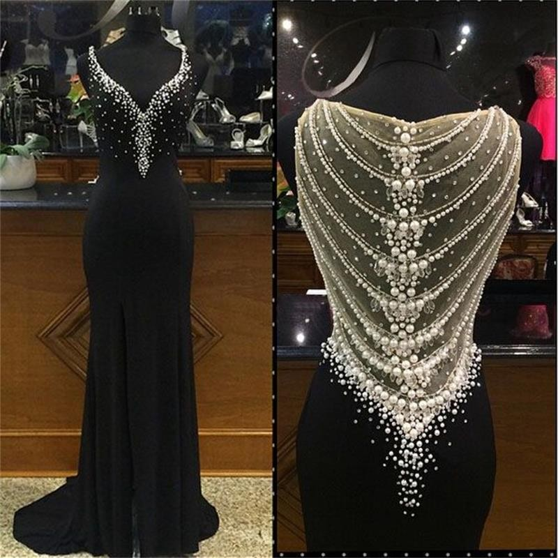 Sexy Long Prom Dress 2017 Black Mermaid Evening Dress Sexy V Neck Chiffon Beaded Pearls Sheer Back Sparkly Formal Gowns