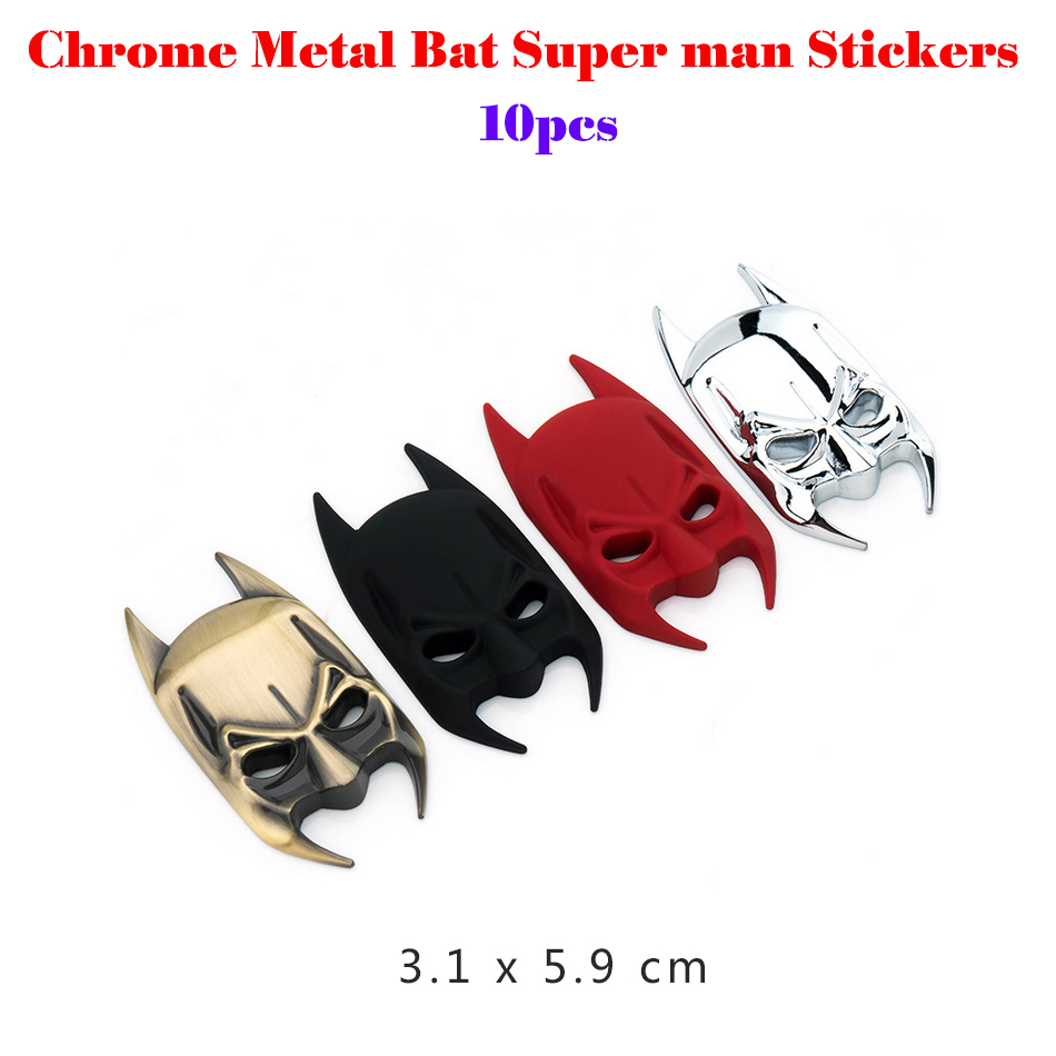 Hot selling 10pcs Chrome Metal Bat Super man Car Stickers Decoration Full Metal Spiderman Ironman Car Decals Emblems Accessories