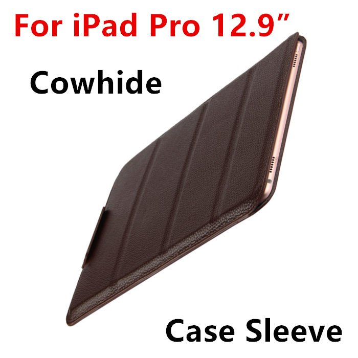 купить Case Cowhide Sleeve For iPad Pro 12.9 Tablet PC Protective Smart cover Protector Genuine Leather For Apple iPad 12.9 inch Cases онлайн