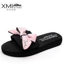 XMISTUO Marke 2017 Casual Frauen Schmetterling Knoten Weibliche Tap Schiefer Strand 3 CM Plattform Hausschuhe Schuhe Keile Bajan Terlik Sandalen
