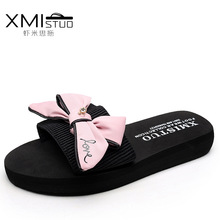 XMISTUO Brand 2017 Casual Women Butterfly Knot Female Tap Shale Beach 3CM Platform Slippers Shoes Wedges Bayan Terlik Sandals