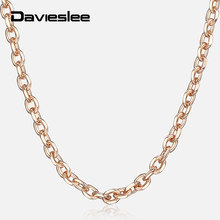 Davieslee Thin Rolo Cable Chain Necklace For Women 585 Rose Gold Womens Necklaces Dropshipping Jewelry Elegant Gifts 2mm LCN14(China)