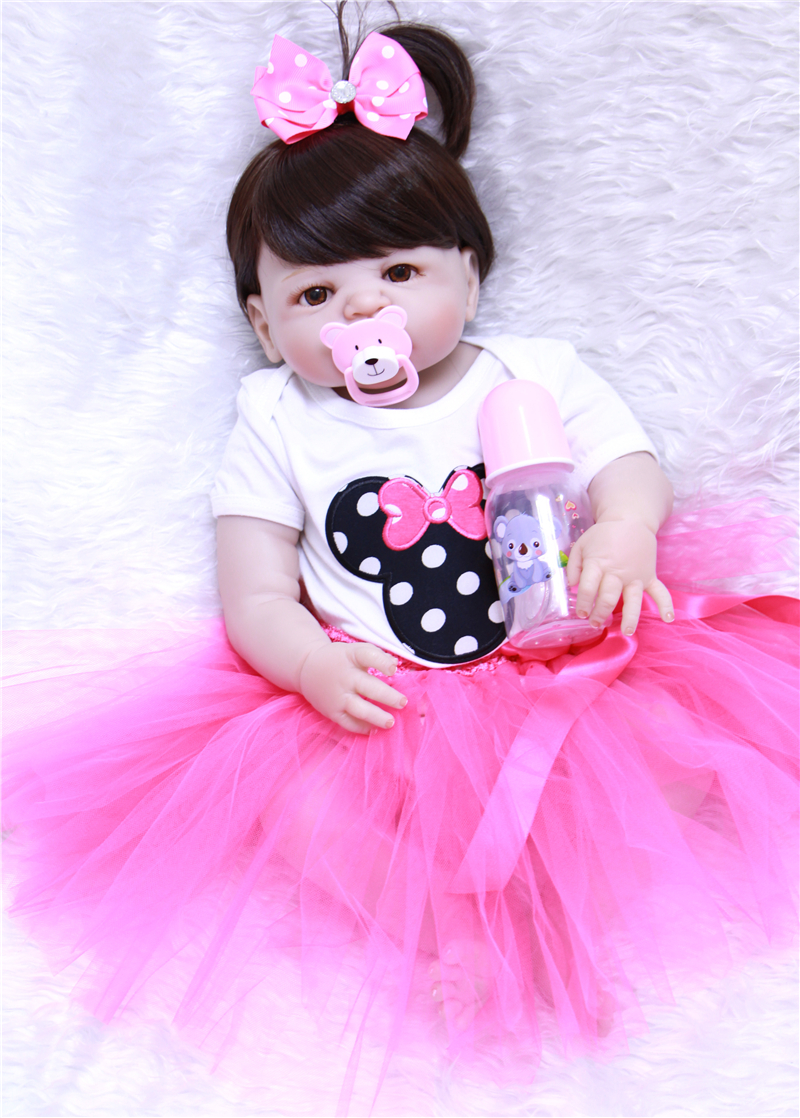 Npk Bebe Reborn Girl Dolls 23'' Real Alive Silicone Bonecas Doll In Cartoon Skirt Baby Brinquedos Newborn Kids Toys Doll Lol