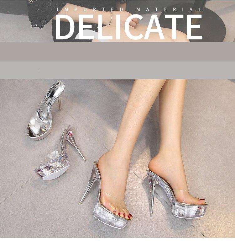 ccc38f471f Stalowa rurka buty do tańca kobiet sandały 2017 kryształ pantofel ultra wysokie  obcasy 14 cm przezroczysty wodoodporna fajne kapcie grzywny z
