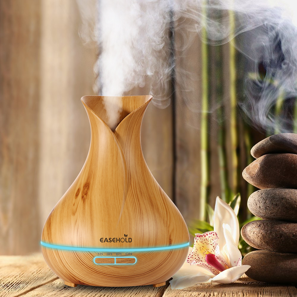 EASEHOLD 400 ml Duft Ätherisches Öl Diffusor Ultraschall Luftbefeuchter mit Holzmaserung 7 Farbwechsel Led-leuchten elektrische