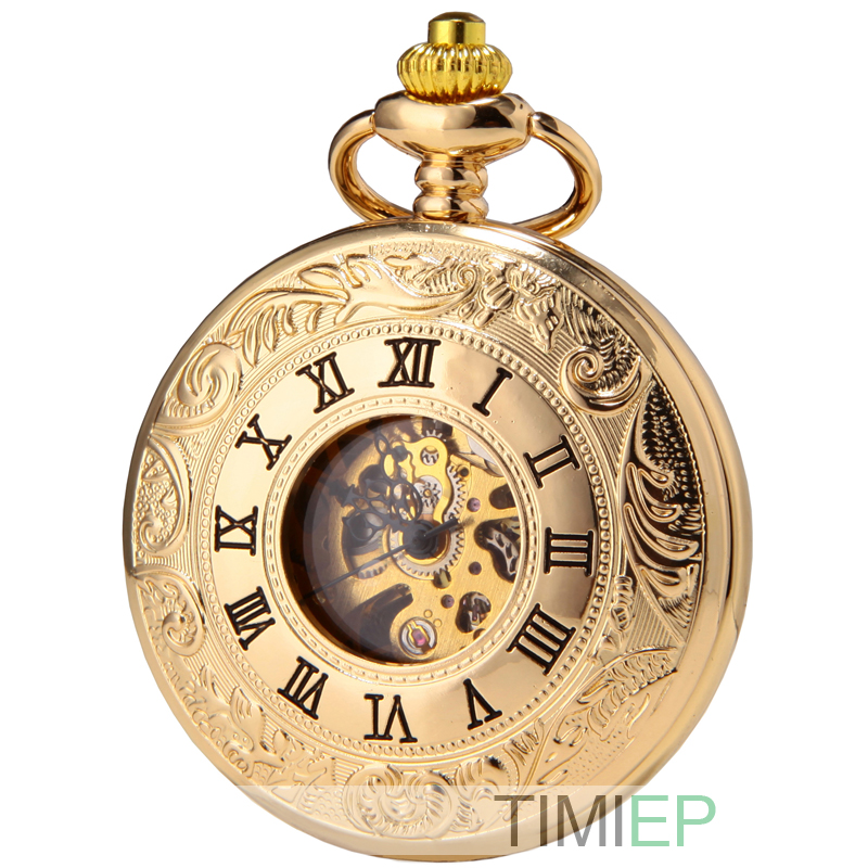SEWOR Double Open Skeleton Pocket Watch Mechanical Movement Hand Wind Full Hunter Gold Tone C124
