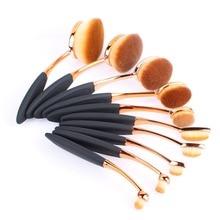 10pcs Rose Gold Oval Tooth Makeup Brushes Set Lip Powder Blusher Foundation Eye Makeup Brushes Kit Tools Without Box #85784