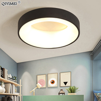 Round simple Modern led Chandeliers Lights For Dining Room bed room baby Room white black frame Finished Chandelier