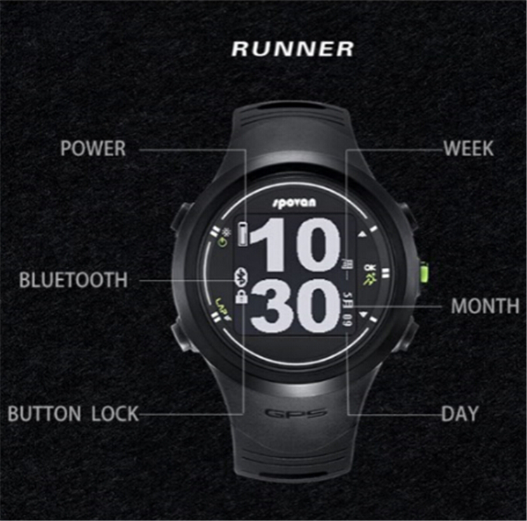 Spovan Gps Sport Watch Bluetooth 4.0 Chest Strap+waterproof Heart Rate Monitor Calories Counter Fitness Clock Saat Montre Homme Latest Technology Men's Watches Watches