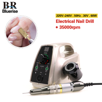 Bluerise60W Powerful Electric Professional Nail Drill EU Plug Art Pen Polish Drill Equipment Pedicure File Polish
