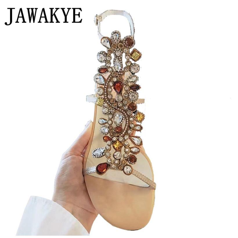 big discount detailed look shop Rhinestone Gladiator Sandals Women Genuine Leather diamond Chunky ...