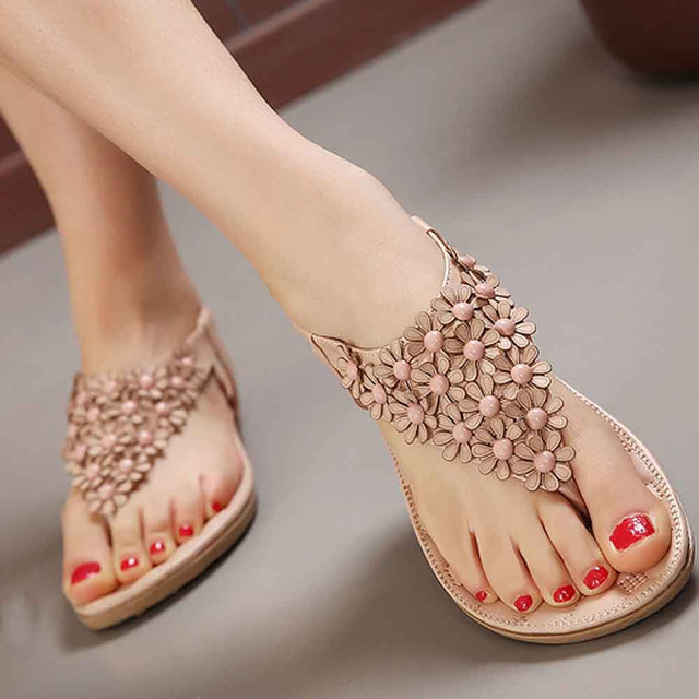 4af144363fd1 Sandles Women s Fashion Sweet Beaded Casual New Flats Clip Toe Flats  Bohemian Herringbone Sandals Zapatos Mujer Beach Shoes