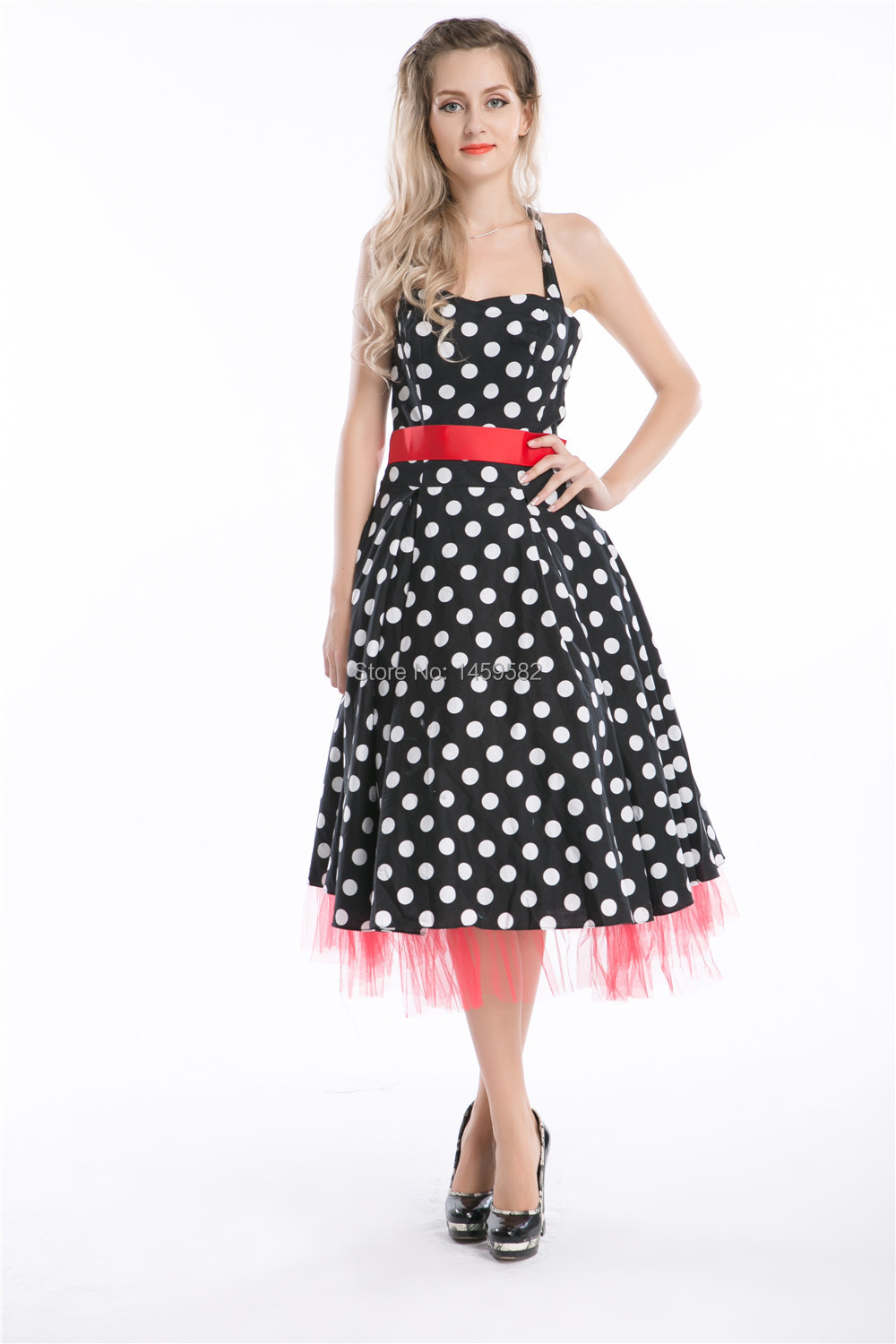 b85a28f77f91 free shipping walsonstylesVintage Rockabilly Polka Dot Retro Swing 50s 60s  pinup Housewife Dressinstyles-in Dresses from Women s Clothing on  Aliexpress.com ...
