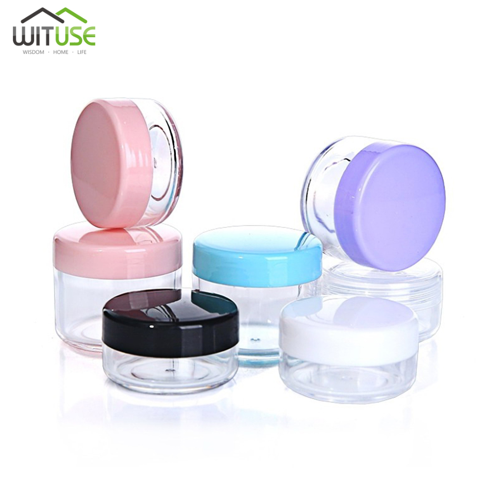 5PCS Empty 10g 15g 20g Travel Small Colorful Covers Clear Plastic Cosmetic Pot Jars With Lid For Face Cream Lip Balm Containers