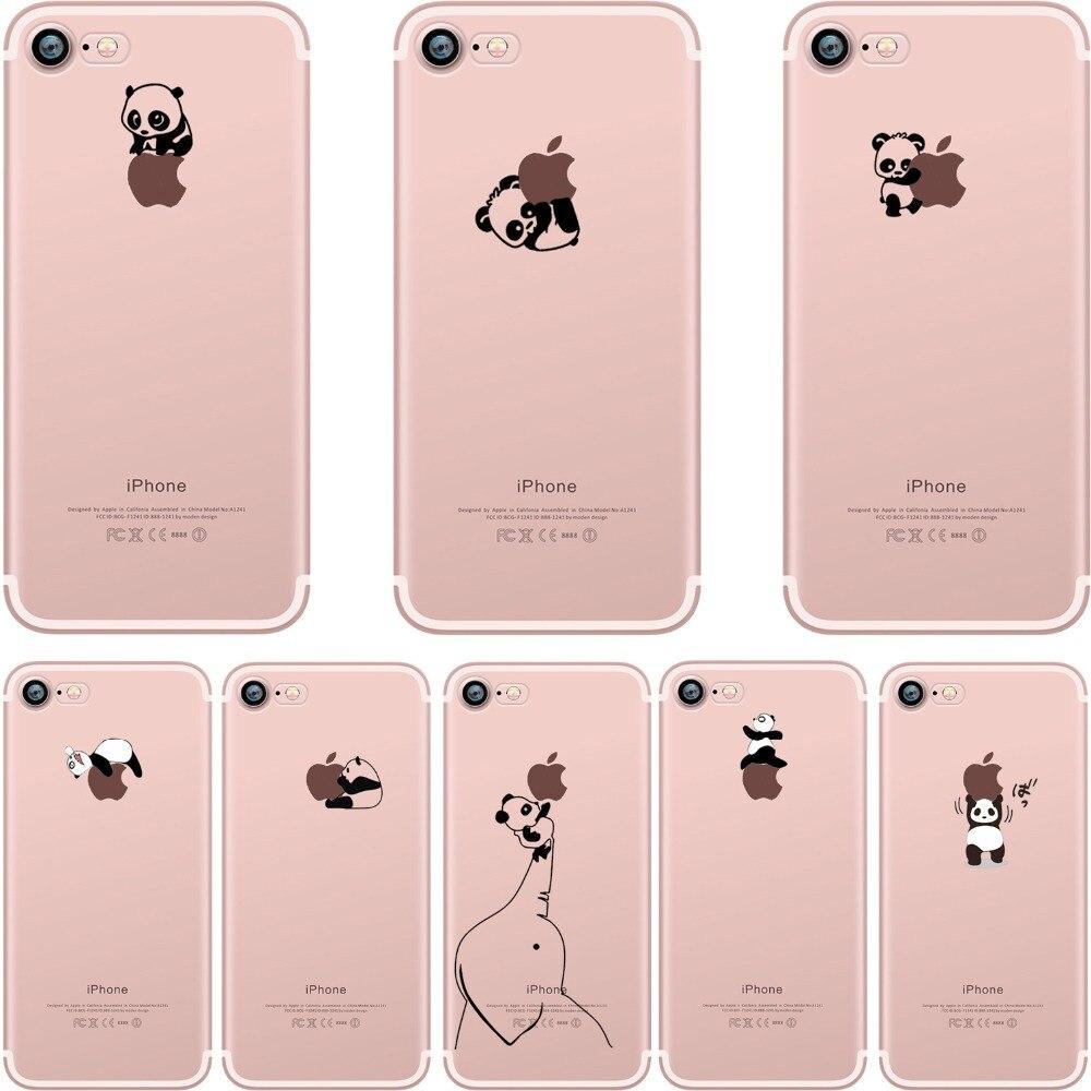 Cajas del teléfono interesante Encantadora pandas animal diseño Claro suave de silicona TPU case para apple iphone 6 6 s 6 plus 7 7 plus 5S SÍ