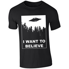 Mens I Want To Believe UFO Aliens X Files Inspired T-shirt NEW S-XXL Funny Tops Tee New Unisex free shipping
