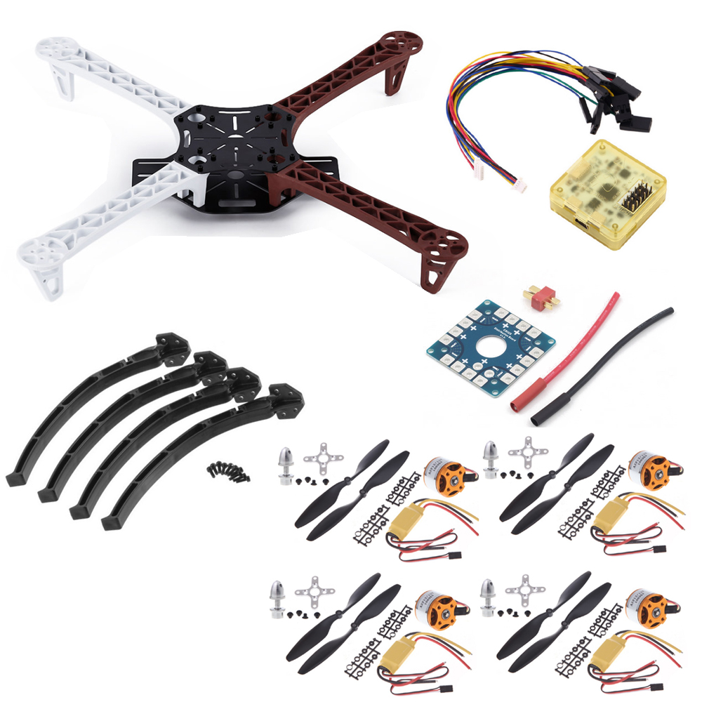 1set F450 PCB Frame Kit+CC3D EVO Flight Controller Board+XXD A2212 1000KV Motor+30A ESC+1045 Props For Rc Quadcopter drone with camera rc plane qav 250 carbon frame f3 flight controller emax rs2205 2300kv motor fiber mini quadcopter