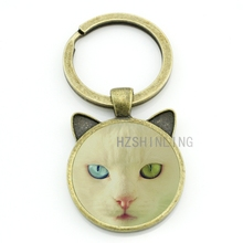 Interesting Cats pendant keychain vintage Spotted Cat Bat art picture glass metal key chains rings holder men women CN331
